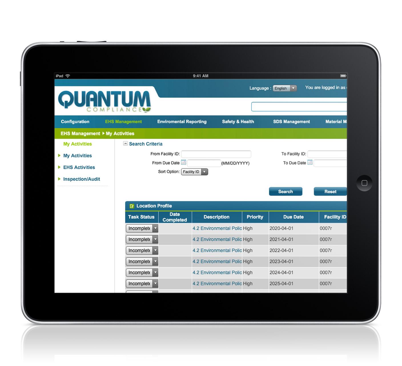 Screenshot of Quantum EHS Management Software on iPad