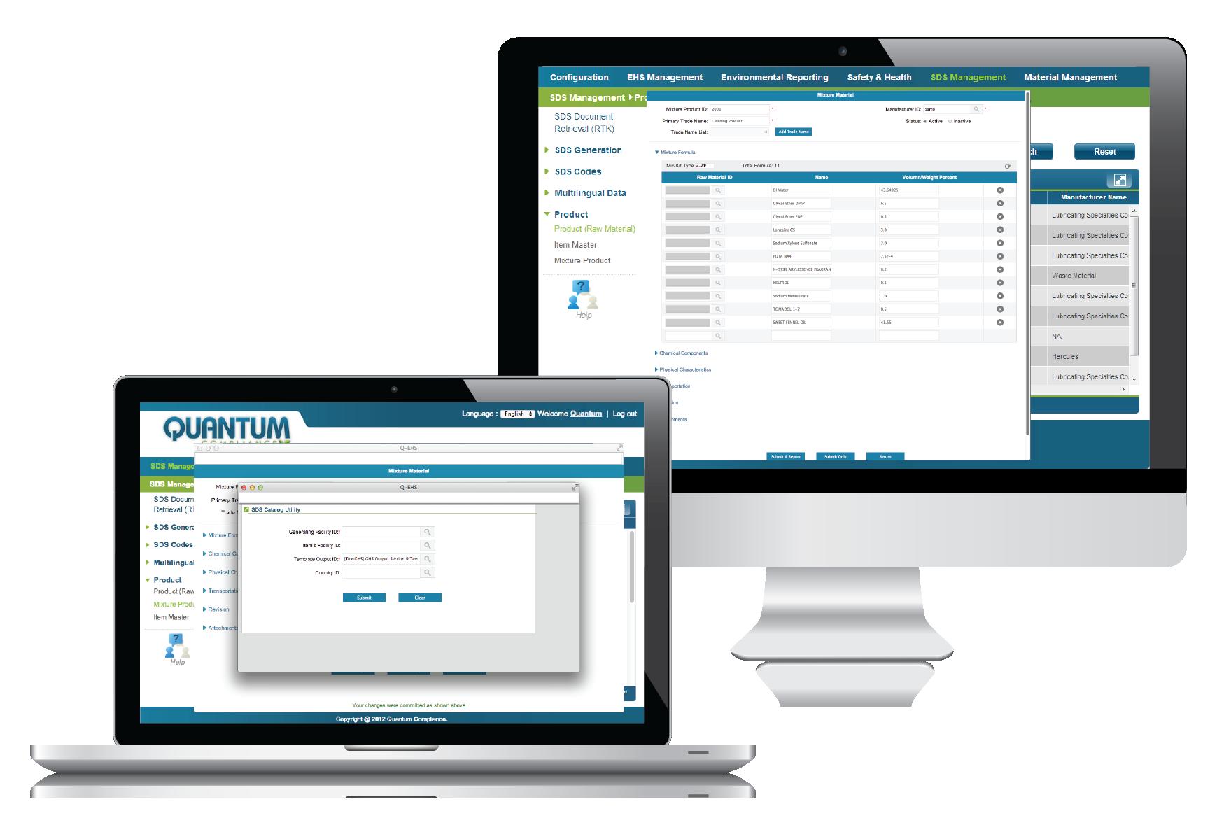 Screen shot of SDS Software on Desktop and Laptop