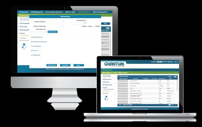 Screenshot of SDS software on Laptop and Desktop