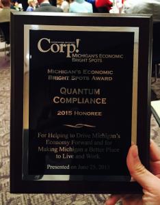 Corp! Michigan's Economic Bright Spots Award Plaque