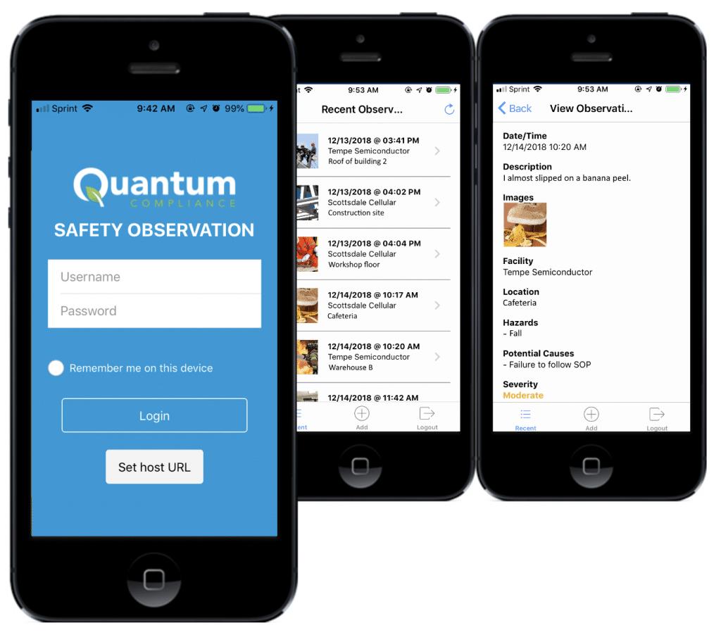 Safety observation software mobile app screenshots