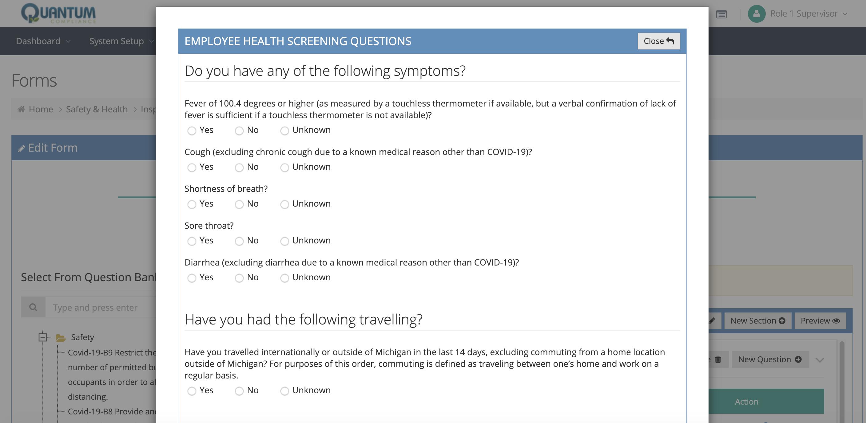 COVID-19 employee health screening questions