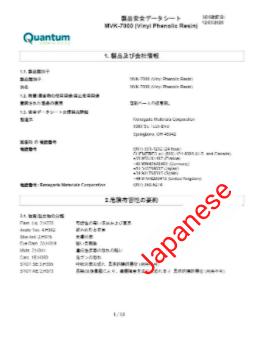 Japanese SDS template